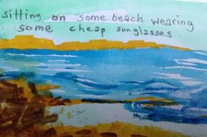 Hollow Legs. 1/3 postcards. Rough watercolour. 2013
